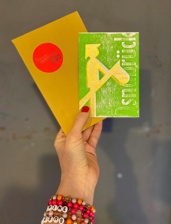 Grußkarte mit Steckenpferdreiter