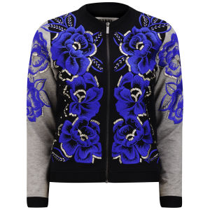 ANHHA WOMEN'S EMBROIDERED SHORT BOMBER JACKET