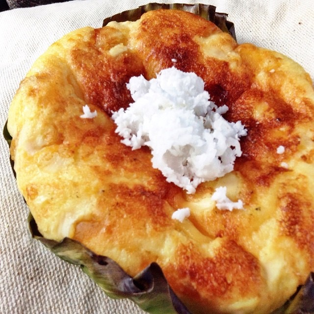 Bibingka topped with grated coconut