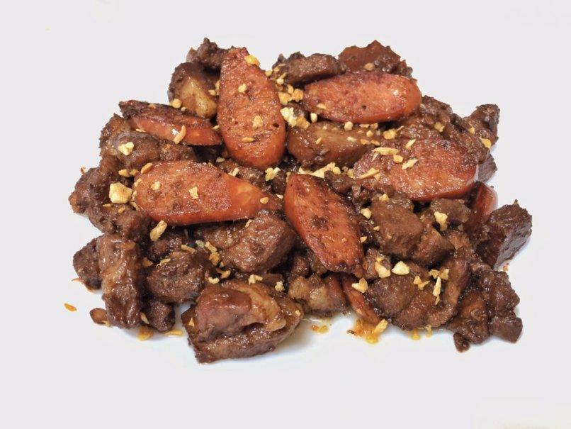 Pork Salpicao with Chorizo and Garlic