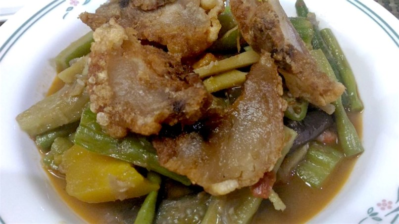 Pinakbet Topped with Bagnet (Northern Luzon)