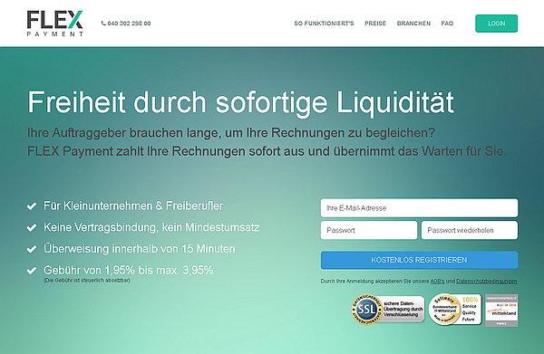 Screenshot FLEX Payment-Homepage