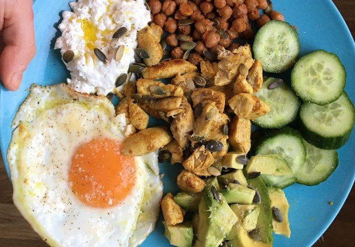 Egg Cottage cheese avocado roasted chickpeas chicken