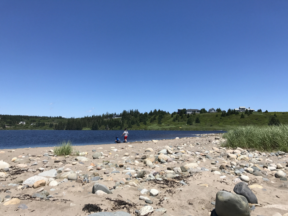 Some kids take in the Atlantic Ocean on a beach near Halifax, Nova Scotia.