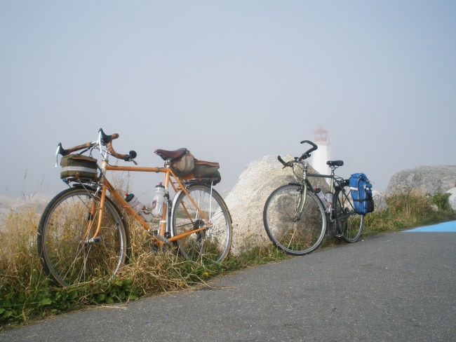 Bikes at Peggy's Cove during a particularly foggy day.