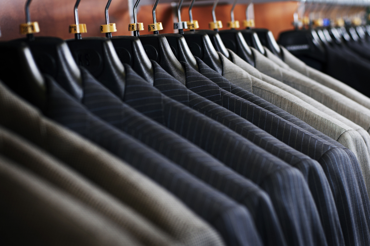 Suits on a rack in Halifax, Nova Scotia