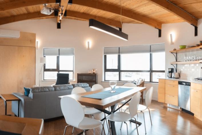 A high-ceilinged Airbnb in Halifax, Nova Scotia