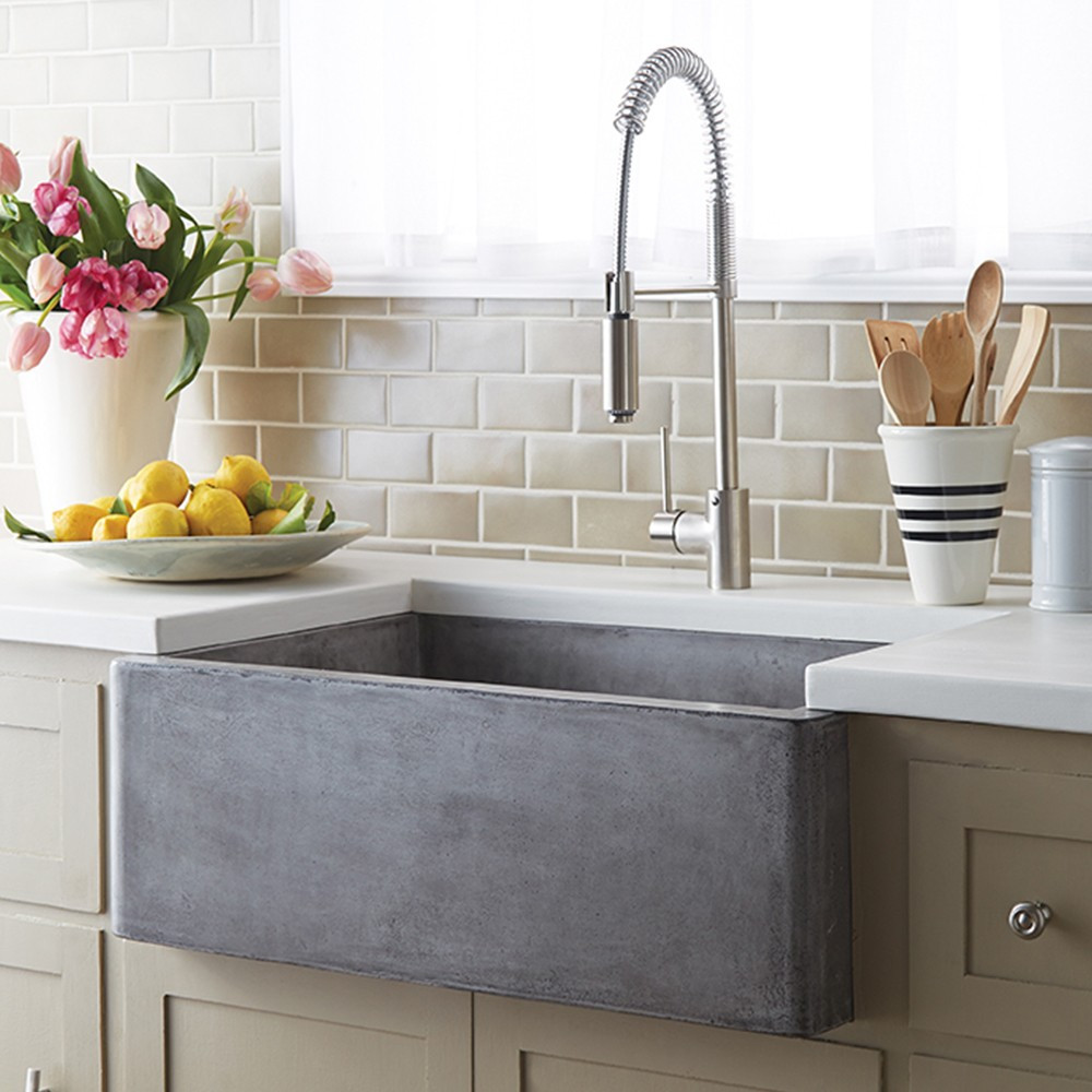 A brushed metal farmhouse sink