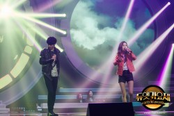 Jung Joon Young with rapper E.Luni covering Insomnia of Dynamic Duo at MBC Duet Song Festival on April 2016