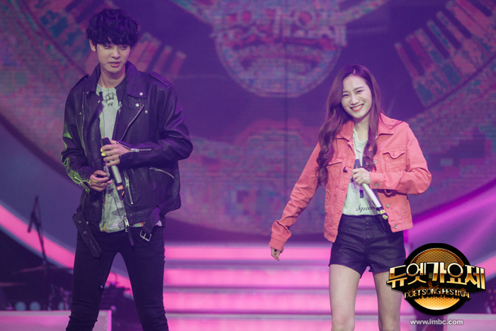 Jung Joon Young performing with rapper E.Luni at MBC Duet Song Festival on April 2016