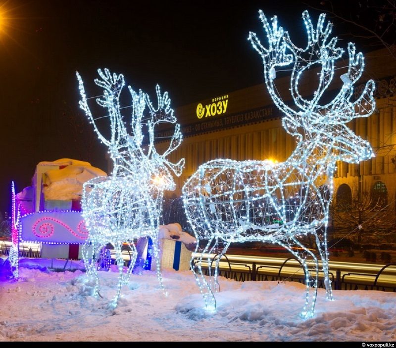 New Year decorations of Kazakhstan cities      Kazakhstan travel and     Kazakhstan cities New Year decorations view 1