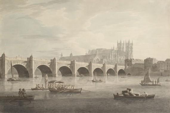Joseph Farrington Westminster Bridge Ink and watercolour on paper, made in 1789-90 © Joseph Farrington/Museum of London