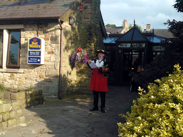 We were welcomed to the Mytton Fold Hotel by a Town Crier!