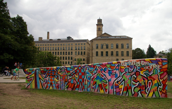 Salts Mill at Saltaire Village seen from the skate park