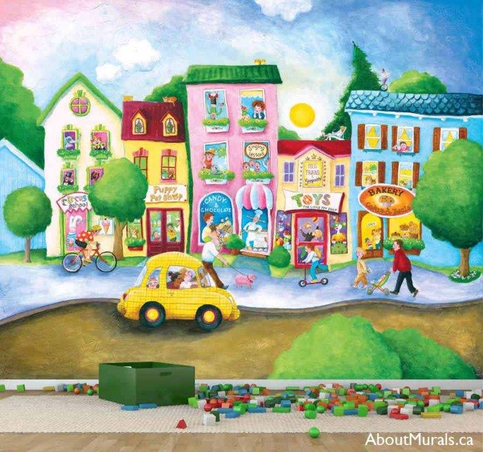 Candy Street Wall Mural, as seen in this playroom, is removable wallpaper featuring a bakery, candy store, circus school, pet shop and toy store. Kids wallpaper sold by AboutMurals.ca.