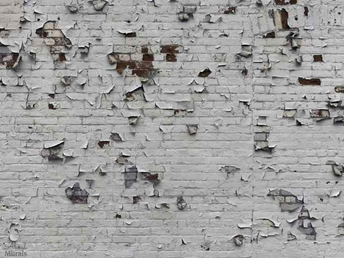 Peeling Paint Brick Wallpaper features white paint peeling off a textured brick wall. Brick effect wallpaper sold by AboutMurals.ca.