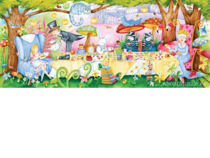 The Tea Party Wall Mural features Alice in Wonderland having tea with the Queen of Hearts, Cheshire Cat and Mad Hatter. Kids wall murals sold by AboutMurals.ca.