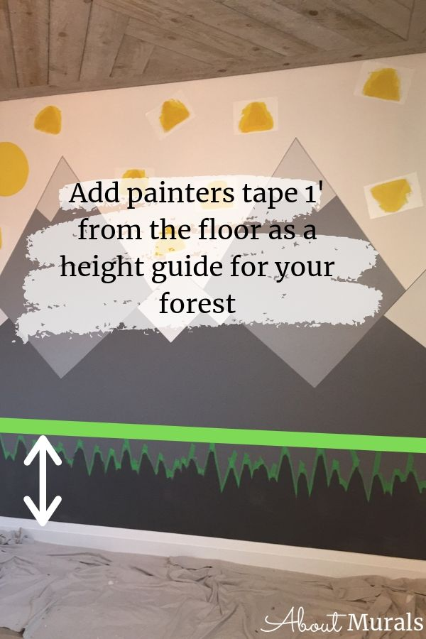 Adding a forest to a DIY mountain mural by AboutMurals.ca