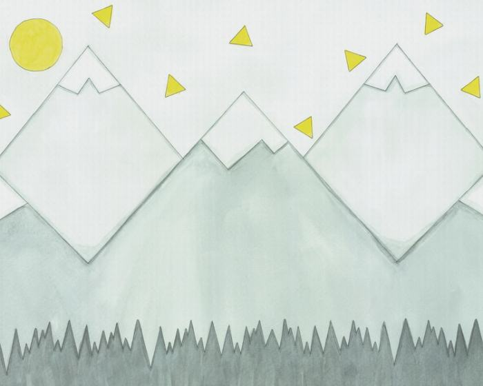 Mountain Mural Wallpaper features grey mountains under a yellow sun and triangles. Removable wallpaper sold by AboutMurals.ca