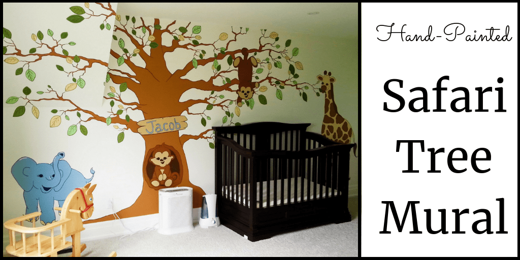 A safari tree mural, painted by Adrienne of AboutMurals.ca, in a baby nursery