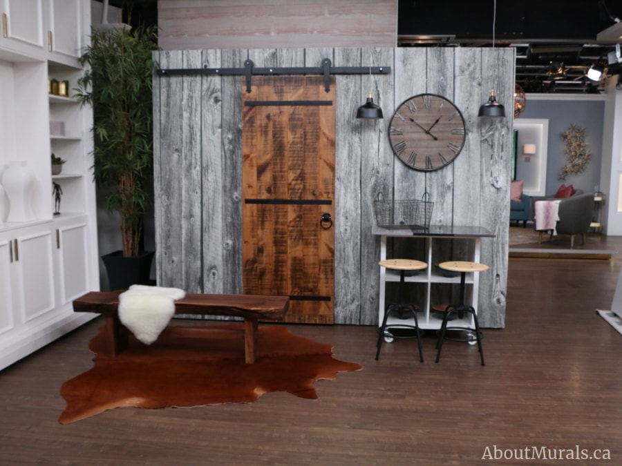 A wood look wallpaper from AboutMurals.ca on set at Cityline