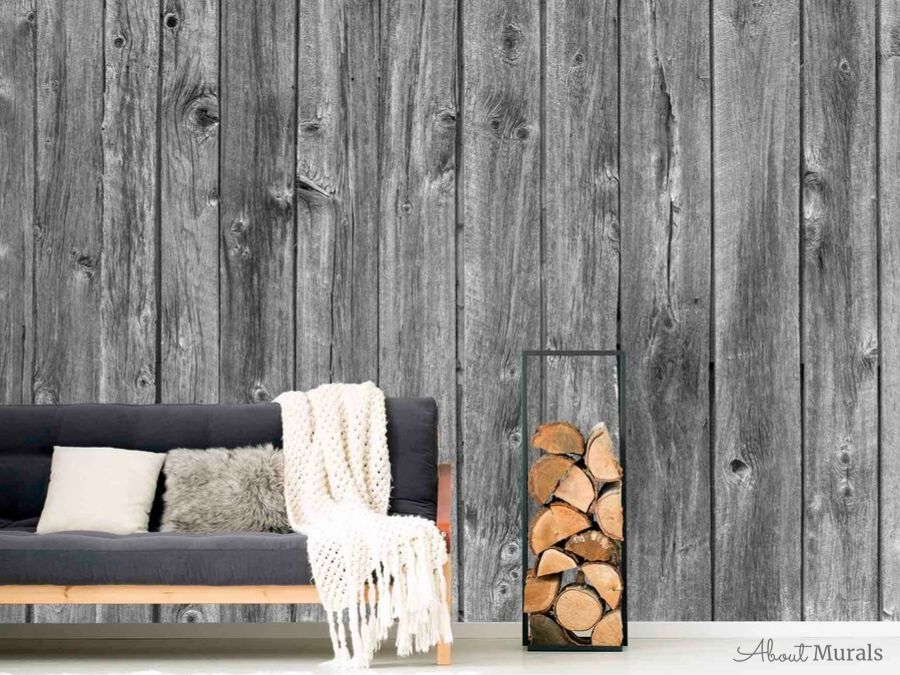 A wood wallpaper in a grey cozy living room, sold by AboutMurals.ca