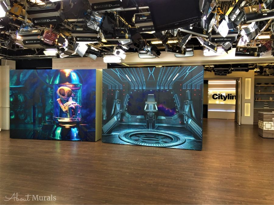 Alien Mural, as seen on set at Cityline, is perfect for an outer space room and features an alien floating in a laboratory specimen jar. Removable wallpaper sold by AboutMurals.ca.