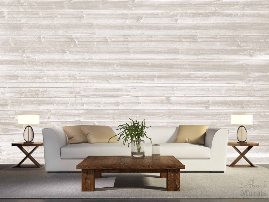 Beige Horizontal Barnwood Wall Mural in a Living Room from AboutMurals.ca