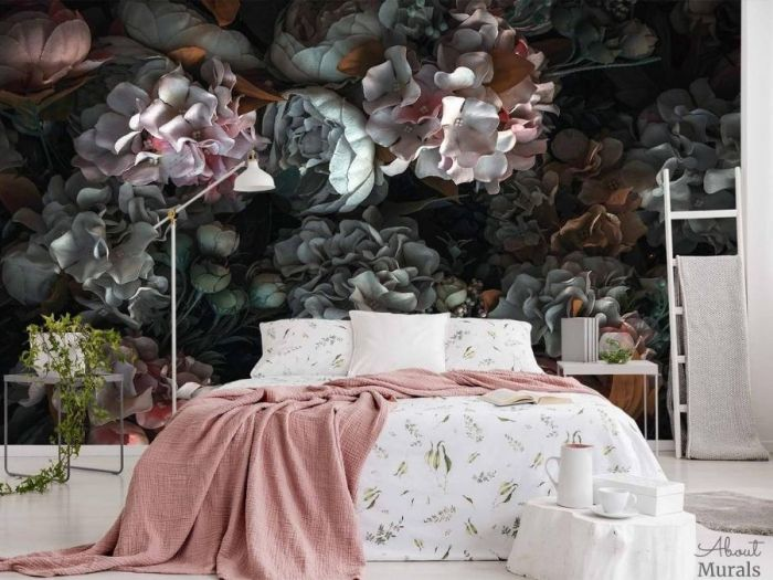 Dark Floral Wallpaper, as seen on the wall of this bedroom, feels beautiful with its pink and white flowers on a black background. Flower wallpaper sold by AboutMurals.ca.