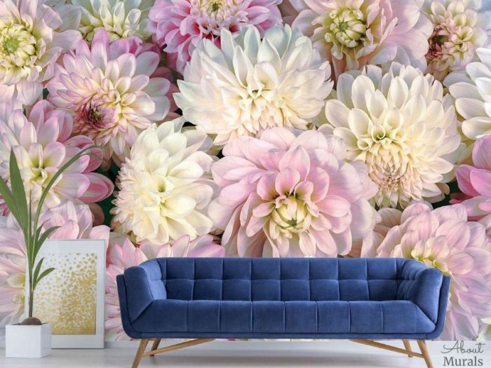 Pink Flower Wallpaper, as seen on the wall of this living room, features oversized dahlia flowers. Floral wallpaper sold by AboutMurals.ca.