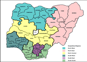 List and map of Geopolitical Zones with their states in Nigeria ...