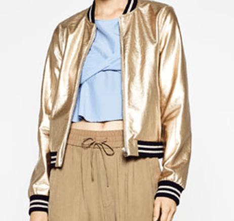 Veste Bomber dorée Zara