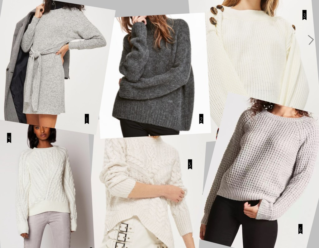 whites and greys sweaters