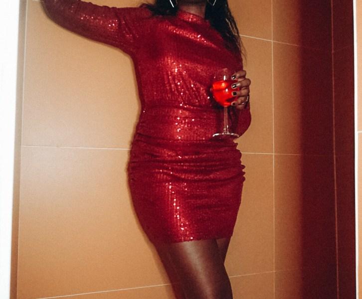 burgundy sequin dress from nakd