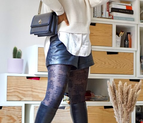 grey sweater, satin blouse, leather black shorts, knee-high boots