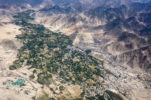 Aerial view of leh