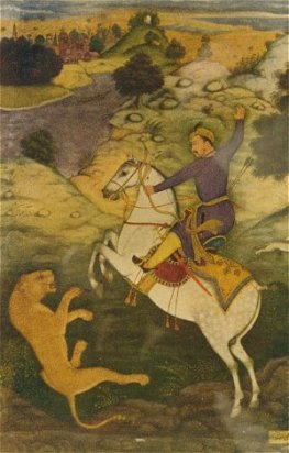 Emperor Babur hunting tiger