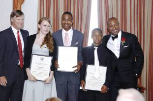 Rising Stars Ted Virtue Educational Scholarship recipients with sponsor Ted Virtue and Jay Williams