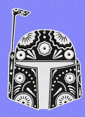 Star Wars Boba Fett Sugar Skull Embroidery Design