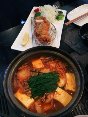 Miso Hot Pot & Tonkatsu Pork Loin (you add your own sauce).