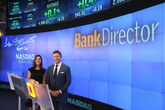 Kelsey and me preparing to say a few words / © 2014, The NASDAQ OMX Group, Inc.