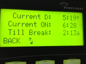 A picture of how the PeopleNet e-log unit keeps track of the 30-minute rest break.
