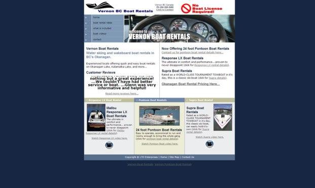 VernonbcRentals.com :: Boat Rentals Website