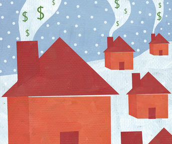Houses releasing chimney smoke with money signs