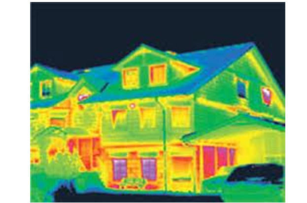 A thermal view of a home, showing where warmth is indicates where heat is being loss