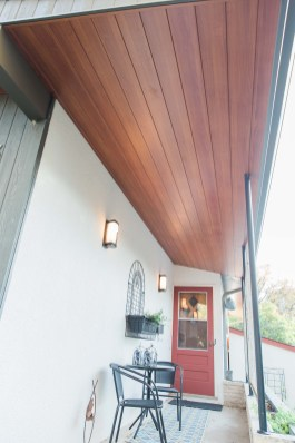Vertical wood soffit on Winnipeg home entrance