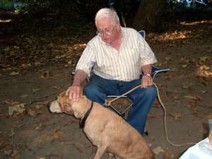 Gordon pets Chloe, David's dog