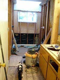"""Bathroom demolished with cat """"inspecting"""""""