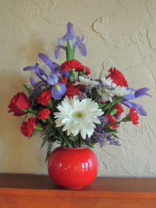 Red, white and blue flower arrangement