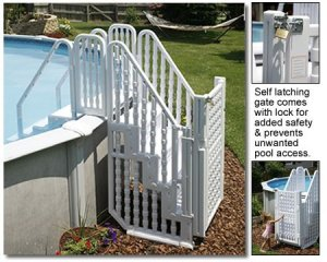 above ground pool step entry system with gate